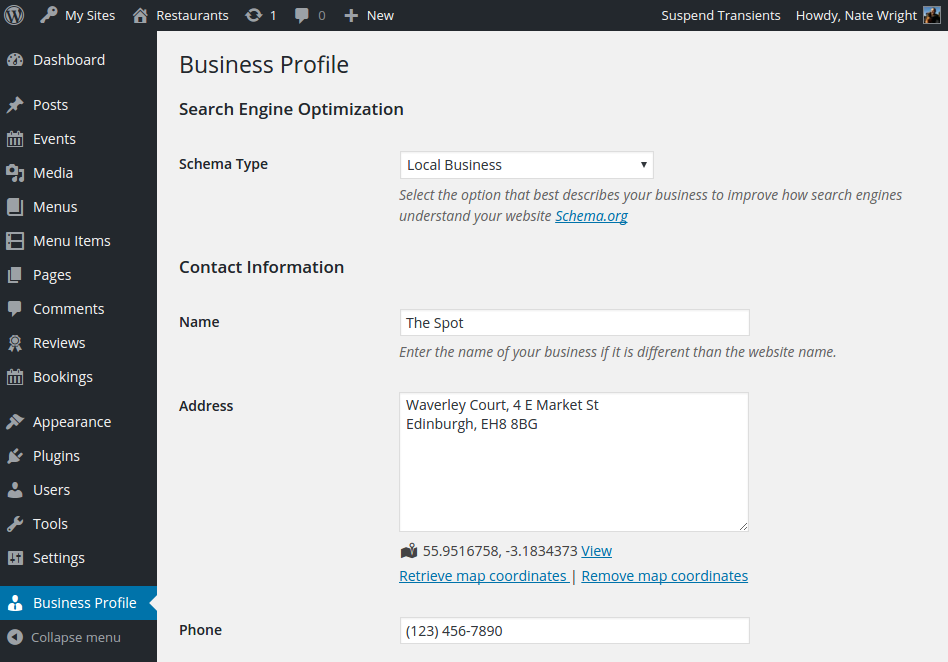 Screenshot of the business profile page