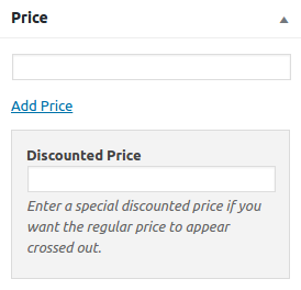 Screenshot of the editing panel for discounted price