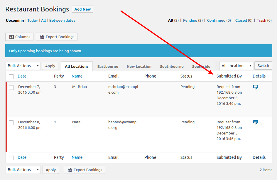 Screenshot indicating Submitted By column in Bookings list