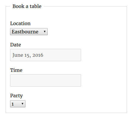 Screenshot showing location field in booking form