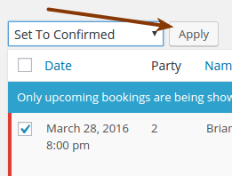 Screenshot of confirming a booking