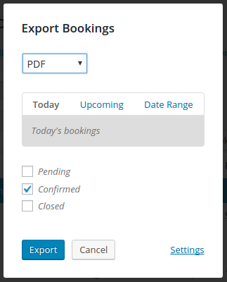 Screenshot showing the Export Bookings modal