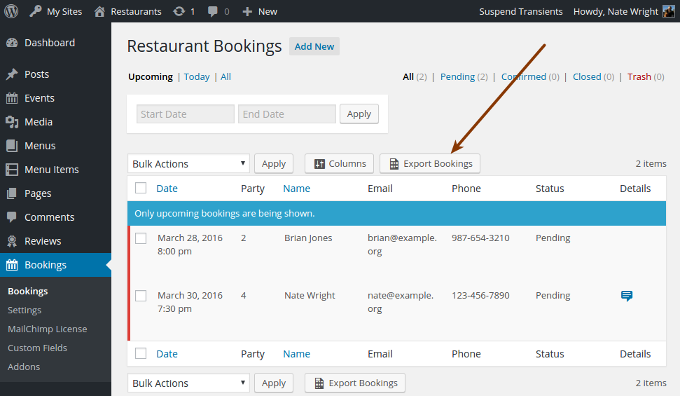Screenshot pointing out the Export Bookings button