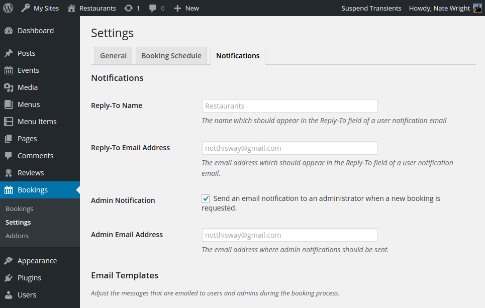 Screenshot of the notifications settings page