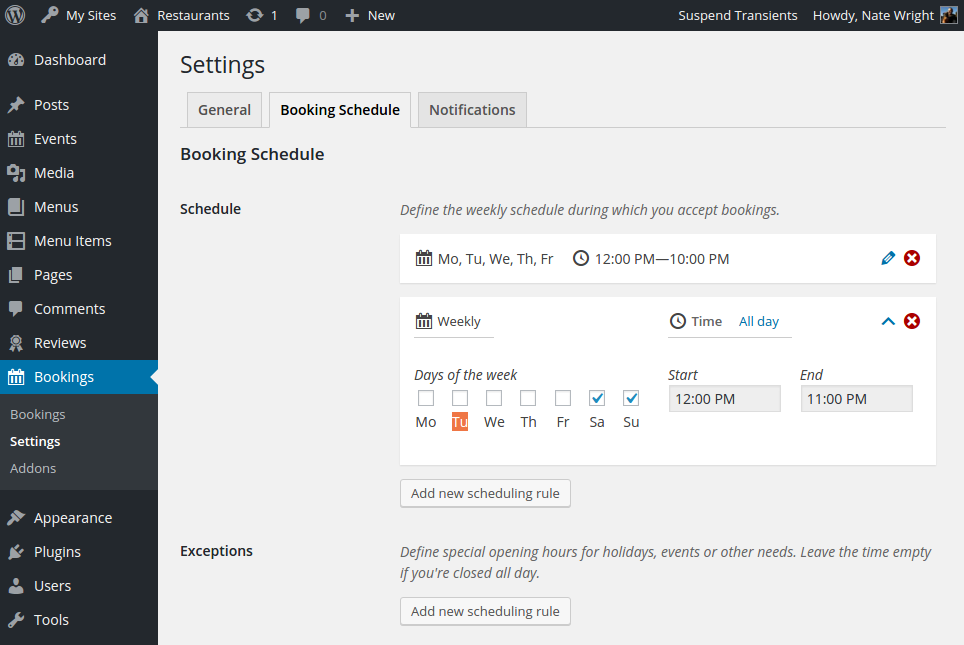 Screenshot of the schedule settings page