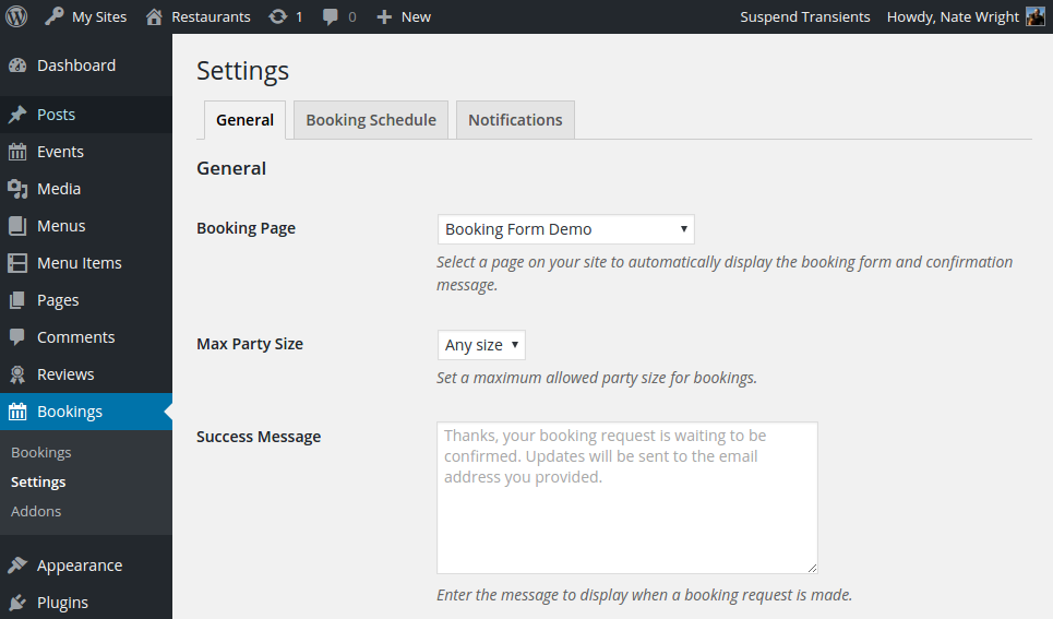Screenshot of the general settings page